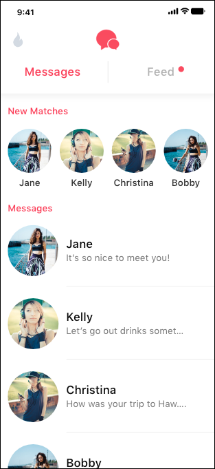 Tinder Messages List